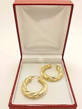 18K Solid Yellow Gold Italian Polished/Matte Twined Hollow Hoop Earrings 5.47Grs