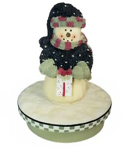 Snowman with Christmas Present Candle Topper Our America Holiday Candle Capper