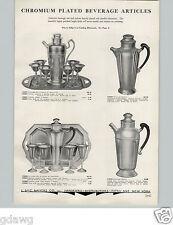 1934 PAPER AD Chrome Cocktail Shaker Set Sets Tray Bakelite Handles