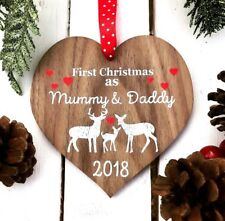 First 1st Christmas as Mummy and Daddy Deer Tree Decoration Wood Gift Keepsake