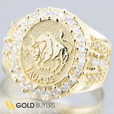 Solid 10k Yellow Gold Men's Taurus Bull Zodiac Pinky Ring w/CZ Accents - Size 11