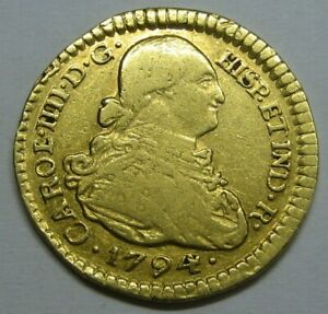 1794 COLOMBIA 1 ESCUDO POPAYAN CHARLES IV SPAIN DOUBLOON COLONIAL ERA GOLD