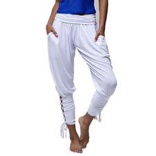 Women Bandage Cross Jogger Cropped Pants Elastic High Waist Lace-up Yoga Trouser