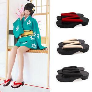 Womens Japanese Flat Geta Clog Kimono Flip-flop Wood Slipper Sandal Shoes Cos