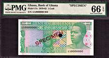 Ghana One Cedi 1979 SPECIMEN AA0000000 Pick-17s GEM UNC PMG 66 EPQ