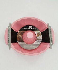 CALPHALON Pink Silicone Bakeware Bund Cake Form Pan NEW Metal Handles Baking