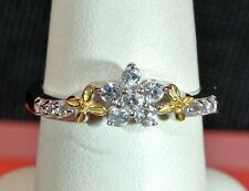WoW BEAUTIFUL NATURAL WHITE ZIRCONS 14kt YG & PLATINUM OVER 925 S.S. RING SIZE 8
