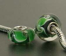 3 pcs Murano Glass Beads. Green. Fits European Charm Bracelet or Necklace. G6