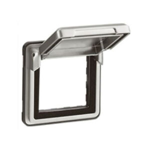 Legrand SOLIROC ADAPTOR WITH FLAP LEG77880A Hinged Lid, Silver