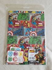 Marvel Comics Gift Wrap Wrapping Paper - 2 Sheets 50cm x 70cm & 2 Tags