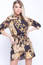 UK Womens Baroque Print Shirt Dress Ladies Belted Sleeve Paisley