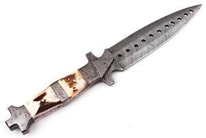 "12""custom HAND FORGED DAMASCUS STEEL Hunting Dagger KNIFE Fix Blade Knife+sheath"
