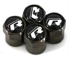 4 x Matt Black Tyre Valve Dust Caps (Fits VOLKSWAGEN) RLINE R LINE