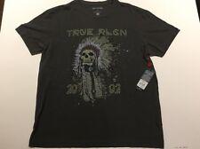 TRUE RELIGION 4TH AVE HEADDRESS C-NECK MEN T-SHIRT CHARCOAL BLACK NWT L $79