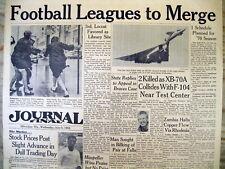 1966 headline display newspaper AFL & NFL MERGE to form NATIONAL FOOTBALL LEAGUE