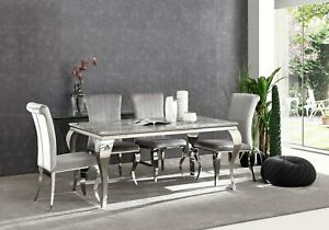 160cm grey marble dining table and 6 grey velvet chairs