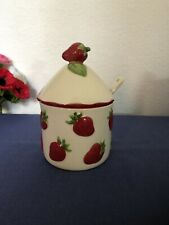 More details for free postage strawberry jam pot and ceramic spoon notched lid red majolica