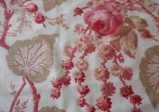 Antique French Botanical Floral Roses & Foliage Cotton Fabric #1 ~ Pink Sage