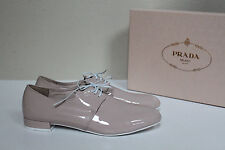 New sz 8.5 / 38.5 PRADA Nude Patent Leather Lace up Oxford Sneaker Shoes