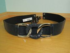 NWT MICHAEL KORS BELT WIDE BLACK SNAKE EMBOSSED LEATHER FITTED STRETCH L XL