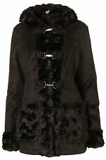 New TOPSHOP faux shearling duffle coat UK 16 in Black