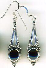 """925 Sterling Silver Black Onyx Drop / Dangle Earrings Length 2"""""""