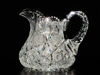 """Jug, ABCG, 6 3/4"""", Hobstar, Cane, Strawberry Diamond,The William Buschling Colle"""