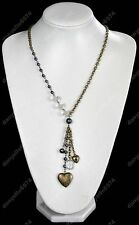 Largo De Latón Antiguo Relicario Estilo Vintage Collar de encanto