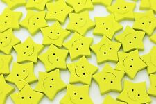 Yellow Star Wooden Button Smiley Cute Baby Children Sew Through Wood DIY 20pcs