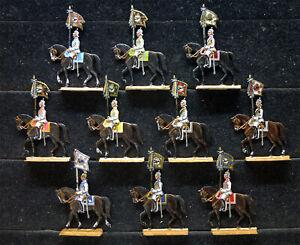 10 Zinnfiguren Preussen 1900 Standarten Kürassiere 30mm Topbemalung