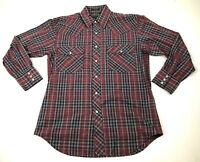 Outlaw Western Wear men's plaid pearl snap shirt size M long sleeve