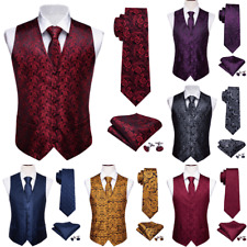 Mens Waistcoats Vest Red Blue Black Purple Paisley Waistcoat Dress Wedding USA