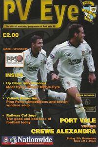 Port Vale v Crewe Alexandra  05-Nov-1999
