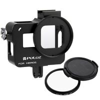 For GoPro HERO7/6/5, PULUZ Metal Protective Case Cage With 52mm UV Filter + Clap