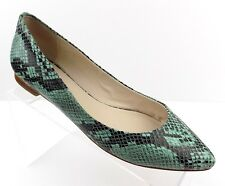 C Wonder Women's Shoes Size 8 1/2 Ballet Flats Green Faux Snakeskin Design