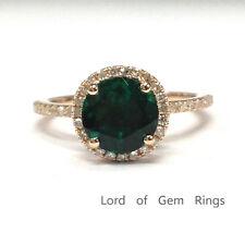 7mm Round Cut Emerald Engagement Wedding Diamonds Halo Ring 14K Rose Gold 6#
