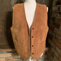 Marsh Landing Womens Fall Spice Leather Vest Size Petite PL Rust Brown Button Up
