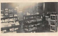 1911 Real Photo Postcard Interior Cigar, Candy, Soda Pop Store in Ohio~112795