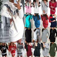 Damen Pulloverkleid Freizeit Pullikleid Kapuze Sweatshirt Minikleid Oberteil