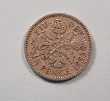 1953 Great Britain Six Pence World Coin UK English Rose Shamrock Wedding 6 p