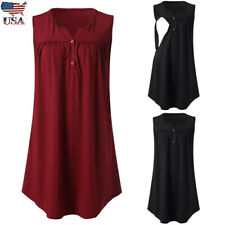 Women Maternity Solid Vest Pleated Nursing Tank Top T Shirt Breastfeeding Blouse
