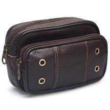 Mens Leather Fanny Pack Bag Travel Purses Waist bag Bum Belt Hip Bag Wallet