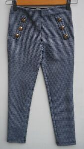 Immaculate RIVER ISLAND Girls Dogtooth Print Trousers with Gold Buttons 7-8 yrs