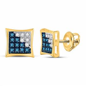 10k Yellow Gold Mens Blue Color Enhanced Diamond Square Kite Cluster Earrings