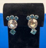 Vintage Blue & Clear Rhinestone Silver Screw Back Earrings Estate Jewelry