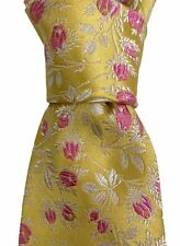 PAUL SMITH- Mens Yellow Pink- Floral Brocade Textured 100% Silk Italy Luxury Tie
