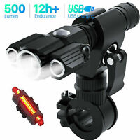 Rechargeable Bike Light Set Zoomable Front Bike Tail Light Bicycle Accessories