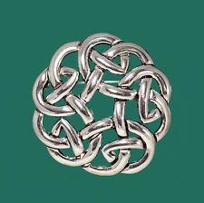 Large Silver Celtic Knot Scottish Irish Kilt Dancing Scarf Pin Brooch Pendant