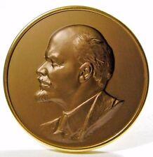 Original Vintage 1980 Soviet Russian Bas-Relief Desk Medal Vladimir Lenin