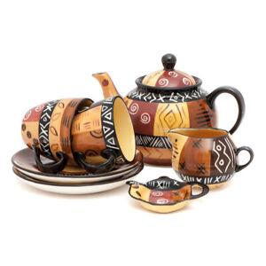Kapula Fairtrade South African Tea Set - Colourful Ceramic Safari Gold Design